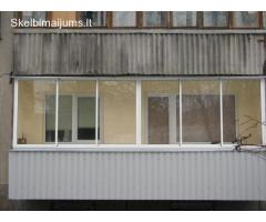 Balkonų, pavėsinių, mansardų, lodžijų, terasų stiklinimas aliuminio profiliais
